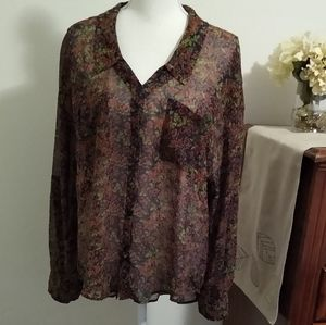 Size L Free People green and red floral shirt